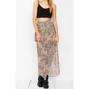 UO Ecote Leopard Maxi Skirt High Rise Sheer